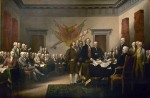 A picture of a painting the USA founding fathers signing the Declaration of Independence