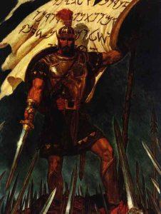 Captain Moroni Raises The Title of Liberty - Arnold Freiberg